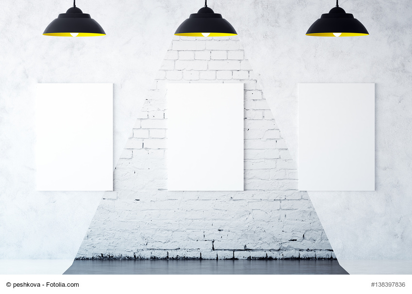 White brick interior with three blank canvas and spotlights. Gallery concept. Mock up, 3D Rendering